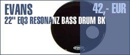 "Evans 22"" EQ3 Resonant Bass Drum BK"