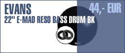 "Evans 22"" E-Mad Reso Bass Drum BK"